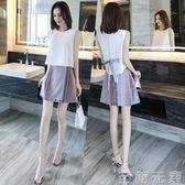 套裝裙 雪紡無袖連身裙女夏兩件套2019新款洋氣小清新矮個子背心套裝裙子 至簡元素