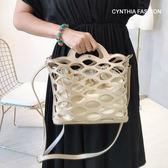 兩用包.Cynthia 星希亞.鏤空手提袋(黑/杏)590【S1A0560】