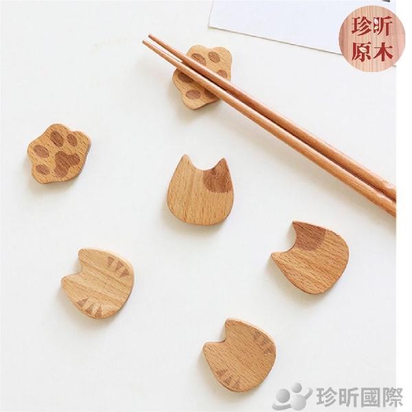 【珍昕原木】貓咪造型櫸木筷架(約長4x寬3、4x高1cm)~3款可選/筷托/筷子架/創意餐具