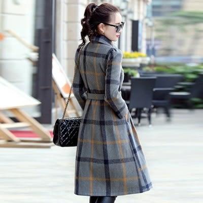 毛呢大衣 中長款-時尚格子收腰顯瘦女風衣外套2色73ki14【巴黎精品】