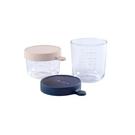BEABA 玻璃儲存罐2入組(粉紅150ml+深藍250ml)[衛立兒生活館]