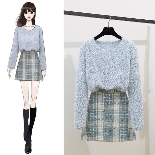 絕版出清 韓系簡約毛衣針織衫格子半身裙套裝長袖裙裝