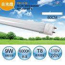 LED日光燈具 T8-2尺-9W白光6000K-890LM日光燈管 (TW-12-38)