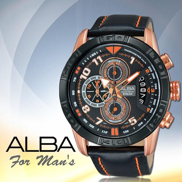 ALBA 雅柏 手錶專賣店 AV6056X1 男錶 石英錶 真皮皮革錶帶 三眼計時 日期  全新品