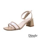 Dingle丁果ღ時尚透明一字帶粗跟高跟鞋(三色34-39)