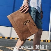 手拿包 新款時尚韓版男包信封包手包復古文件包商務休閒男包手拿公文包 莫妮卡小屋