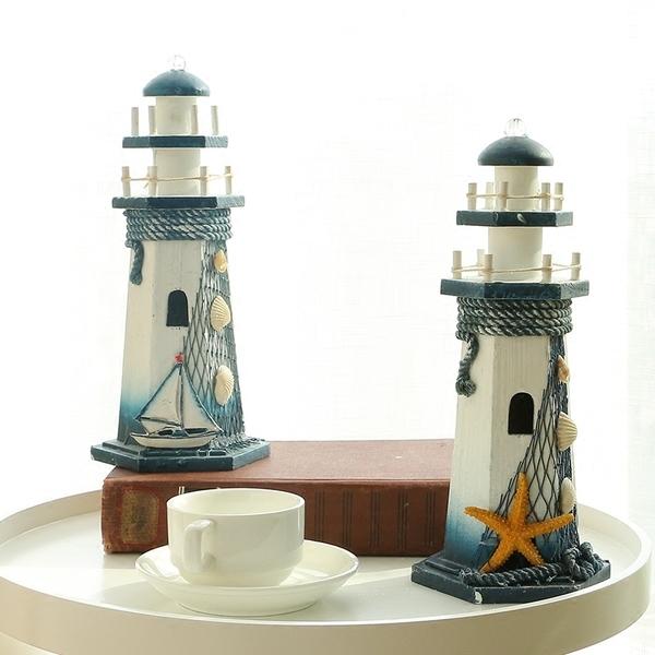 地中海風格裝飾木質LED燈塔家居創意海洋裝飾品擺件婚慶禮品─預購CH1945