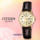 CITIZEN 星辰手錶專賣店   EQ2002-07P 石英指針女錶 皮革錶帶 金色錶面 防水50米 日期/星期顯示