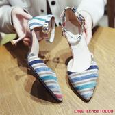 涼鞋女新款韓版時尚百搭尖頭細跟包頭一字帶女式性感高跟鞋子CY潮流站
