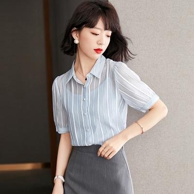 條紋藍色襯衫女夏季寬鬆職業短袖雪紡襯衣上衣 5880 T528紅粉佳人
