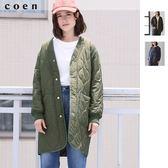 長版 大衣 軍裝外套 女 鋪棉 V領絎縫外套 日本品牌【coen】
