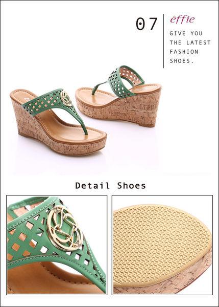 effie 摩登美型 真皮鏤空大釦飾Y字楔型拖鞋  綠