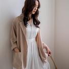 MIUSTAR 涼夏材質!單釦雙口袋雪紡西裝外套(共3色)【NH0948】預購
