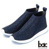 ★新品上市★bac  時尚休閒 飛織燙鑽厚底休閒鞋-藍