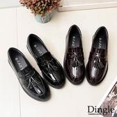Dingle丁果ღ英倫風圓頭流蘇漆皮粗跟褔樂鞋小皮鞋(二色34-40)