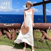 SISI【D9052】現貨春夏巴厘島沙灘渡假海邊仙女氣質性感簡約修身V領無袖露背細肩帶長裙洋裝吊帶裙