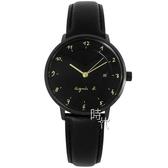 【台南 時代鐘錶 agnes b.】優雅法式人文 B4A006J1@VJ21-KY40G 手寫風簡約時尚手錶 皮帶 33mm