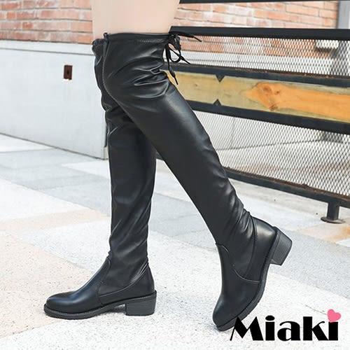 過膝靴.秋冬韓流綁帶低跟長靴