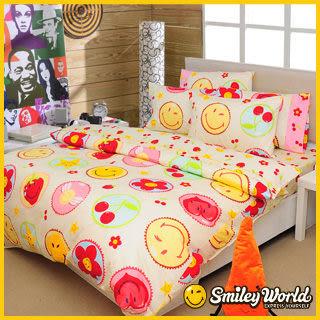 【Smiley】《快樂糕點》長纖絲光精梳棉加大雙人床包兩用被四件組 (奶油米)