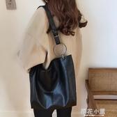 網紅單肩大包包女韓版新款百搭大容量軟面斜挎包時尚托特包潮『櫻花小屋』