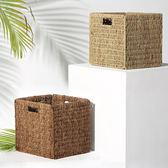 草編收納可折疊筐 儲物籃 書房雜物籃置物架箱 田園WY