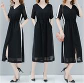 大尺碼洋裝夏季新款顯瘦黑色V領收腰裙子中長款時尚雪紡大碼連衣裙 Ic618【Pink中大尺碼】