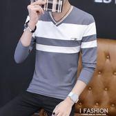 秋季男裝長袖V領T恤純棉修身t桖上衣青少年學生韓版內搭打底衫潮-Ifashion