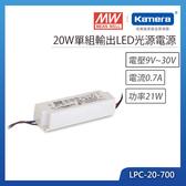 明緯 20W單組輸出LED光源電源(LPC-20-700)