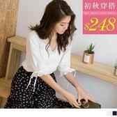 《AB4536-》高含棉蕾絲V領蝴蝶結五分袖上衣 OB嚴選