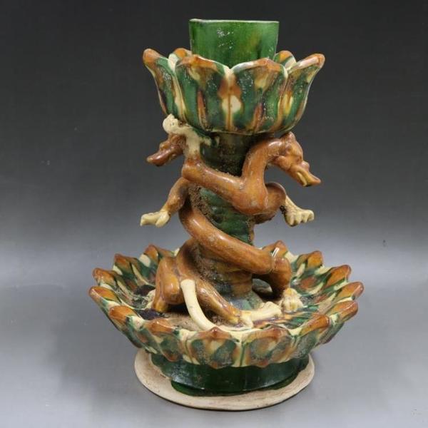 唐三彩浮雕刻花雙龍燭臺仿古老貨包老家居瓷器擺件古董古玩收藏1入