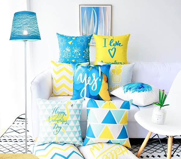 抱枕靠枕北歐風ins藍色腰枕套現代簡約幾何條紋靠枕黃抱枕沙發靠墊辦公室