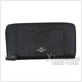 COACH銀字馬車LOGO防刮皮革12卡拼接口袋造型拉鍊長夾(黑)