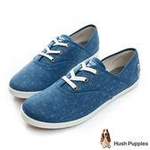 Hush Puppies 吉祥如意咖啡紗帆布鞋-藍色