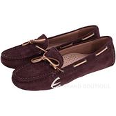 BOTTEGA VENETA 配色綁帶麂皮平底便鞋(酒紅色) 1510380-87