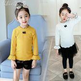 女童純棉打底衫長袖春裝兒童t恤喇叭袖上衣女「Chic七色堇」