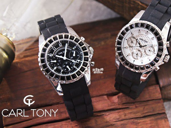 【完全計時】手錶館│CARL TONY 晶鑽魅惑腕錶 防水矽膠錶帶系列 三眼計時款CT3015OS-1