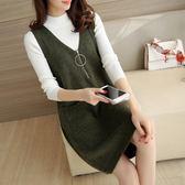 魔袖秋冬新款韓版寬松時尚氣質針織毛衣背心裙子兩件套女裝中長款