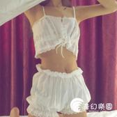 睡衣-春夏女裝韓版甜美性感蕾絲吊帶背心睡衣睡褲兩件套學生家居服套裝-奇幻樂園