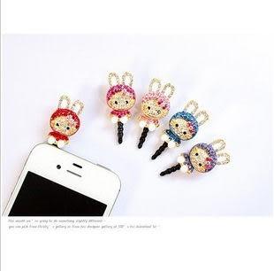 免運 iphone 4 4s HTC Samsung 3.5MM韓國 閃亮鑚飾 耳機塞