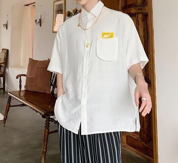 FINDSENSE品牌 訂製 韓系男裝 G6 正韓白襯衫短袖男白襯衫五分袖潮牌日