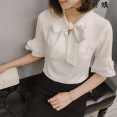 蝴蝶結短袖襯衫女職業裝