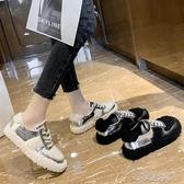 毛毛鞋女冬外穿2020新款單鞋百搭樂福鞋加絨平底豆豆鞋羊羔毛 【快速出貨】