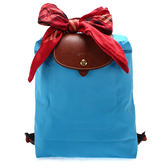 LONGCHAMP經典尼龍摺疊後背包(蔚藍色-含帕巾)480175-807