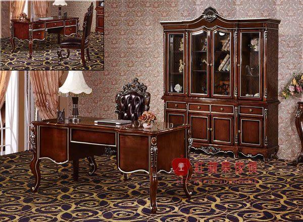 [紅蘋果傢俱] HT-803 新古典系列 實木雕花 歐式 法式 奢華 書桌椅組 四門書櫃 工廠直營