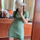 韓國IG熱門款巨顯瘦凹照型小眾復古綠色格子套頭圓領針織衫連衣裙『居享優品』