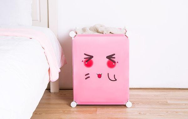 【表情加高款髒衣籃】DIY組裝簡易收納籃 魔術摺疊衣服整理箱 Q萌洗衣籃