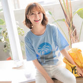 《AB6122》高含棉椰子樹英文燙印上衣T恤 OrangeBear
