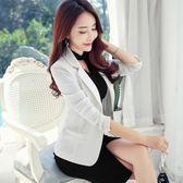裂袖2018春秋新款韓版修身顯瘦小西裝女外套休閒大碼女裝小西服  良品鋪子