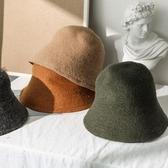帽子 羊毛帽子女秋冬韓版潮百搭漁夫帽冬季復古日系針織毛線盆帽水桶帽 快速出貨