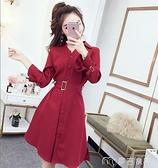 襯衫洋裝春秋新款氣質衣服時尚長袖襯衫洋裝洋氣裙子赫本風小黑裙 快速出貨